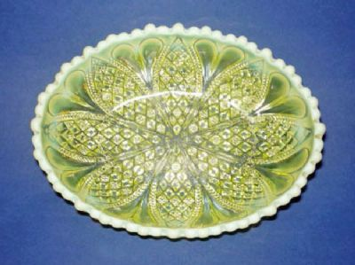 Fine Davidson's Yellow Pearline 'William and Mary' Oval Glass Dish c1905